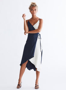 Ali & Jay Cali Romanza Midi Dress in Navy/Ivory