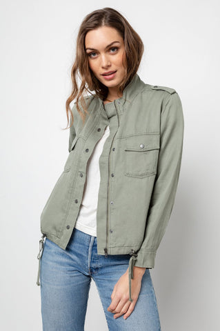 Rails Collins Tencel Zip/Snapfront Jacket in Sage