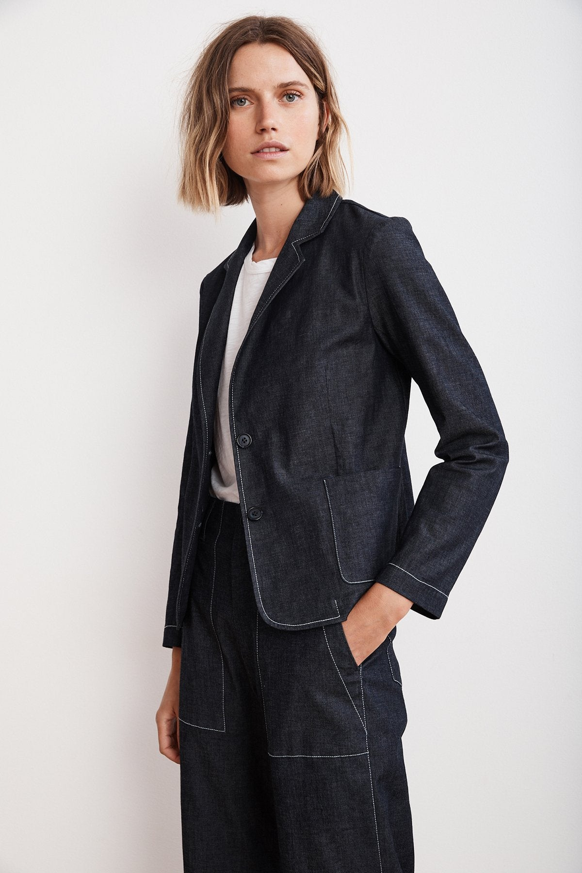 Velvet Alpha03-S119 Lightweight Denim Blazer