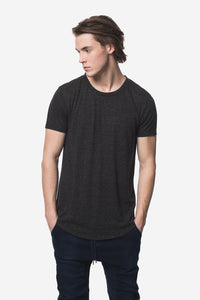 KUWALLA Linen Scoop Tee - Mix Black