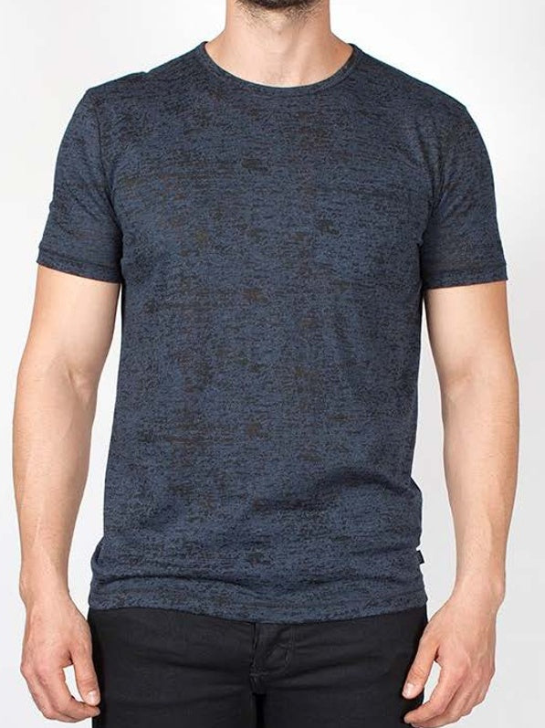 John Varvatos S/S Burnout Crew - Blue Heather