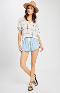 Gentle Fawn Madison S/S V-Neck in White Grid