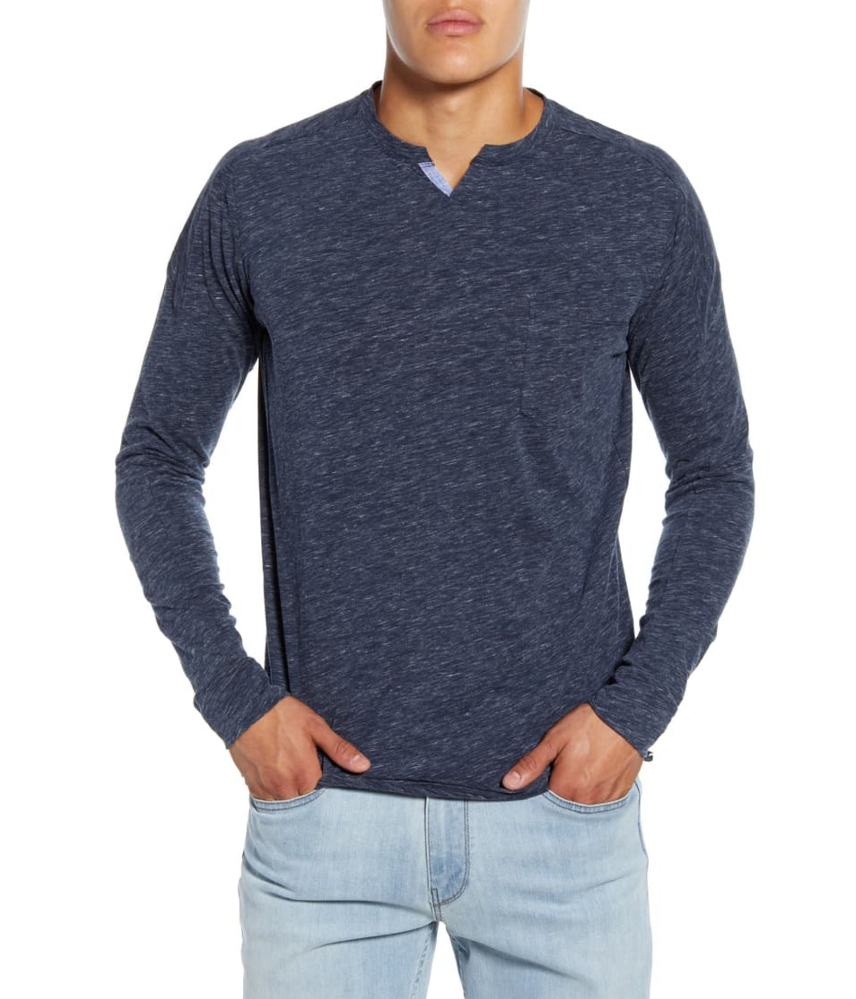 GoodMan Brand LS Victory V-Notch Tee Navy Heather