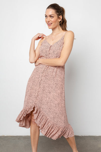 Rails Frida Rayon Crepe Spaghetti Strap Dress in Rose Spotted