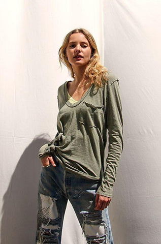 Free people Betty long sleeve tee in faded military