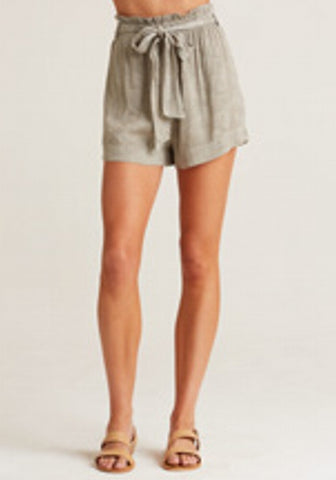 bella dahl Tencel/Linen  ruffle high waisted short - Olive or Safari Khaki