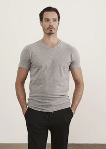 Patrick Assaraf Pima Cotton Stretch V Neck T-Shirt - Mist Melange