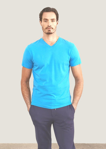 Patrick Assaraf Pima Cotton Stretch V Neck T-Shirt - Light Blue