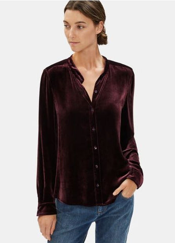 Eileen Fisher Mandarin Collar Velvet Long Shirt