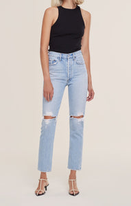 AGOLDE Riley High Rise Crop Jean in Clear Skies