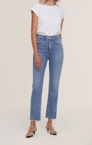 AGoldE Wilder Mid-Rise Straight Leg Crop Jean in Cascadia