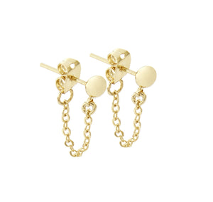 Cuchara Jade ball earring with chain in gold