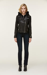 Soia&Kyo Allison-9 leather jacket with removable knit hood