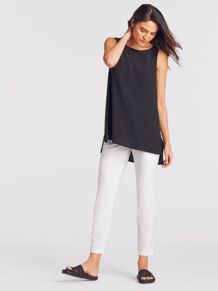Eileen Fisher System Slim Ankle Pant in Washable Stretch Crepe - Black, Bone or Navy
