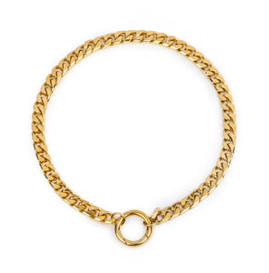 Cuchara Benz Cuban link chain with circle latch closure in gold