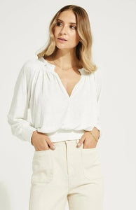 Gentle Fawn Brooke textured top with smocking in white