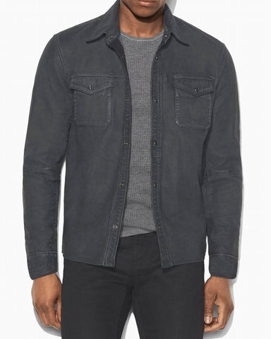 John Varvatos Snap Front Leather Shirt Jacket