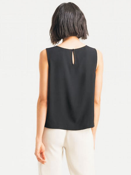 Eileen Fisher System Silk Crepe Round Neck Shell