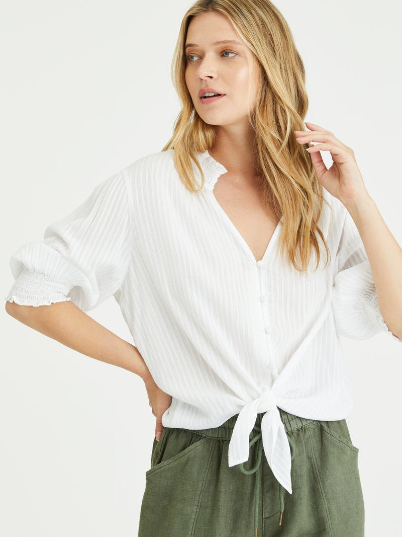 sanctuary Say Hello Tie Front Top in White