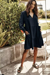 Velvet Mirella Cotton Gauze Long Sleeve Dress in Black