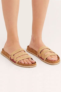 Free People Crete Footbed Sandal - Red