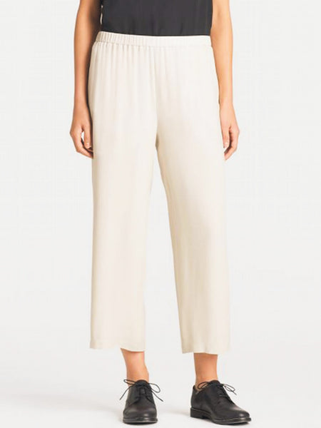 Eileen Fisher System Silk Georgette Straight Cropped Pant - Black or Bone