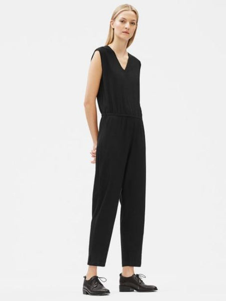 Eileen Fisher Washable Stretch Crepe Jumpsuit S9TL-D4416M