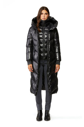 Soia&Kyo Danica Nylon Hooded Puffer Coat in Black