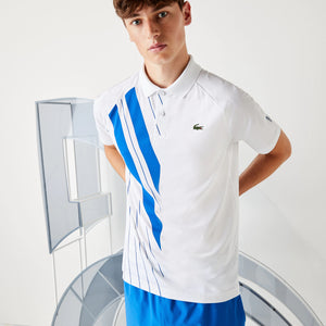 Lacoste SPORT  Novak Djokovic Print Stretch Jersey Polo Shirt  -White