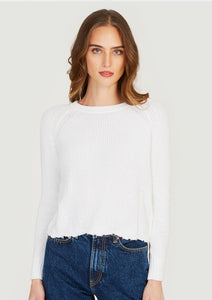 autumn cashmere cotton distressed shaker sweater in bleached white