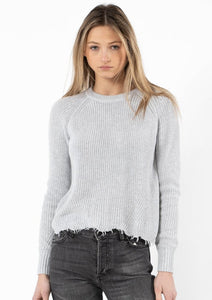 autumn cashmere cotton distressed shaker sweater in platinum