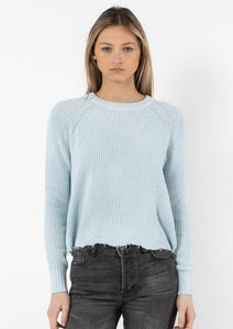 autumn cashmere cotton distressed shaker sweater in space blue