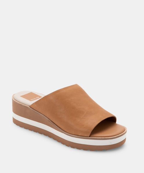 Dolce Vita Freta Wedge Sole Slide in Tan leather