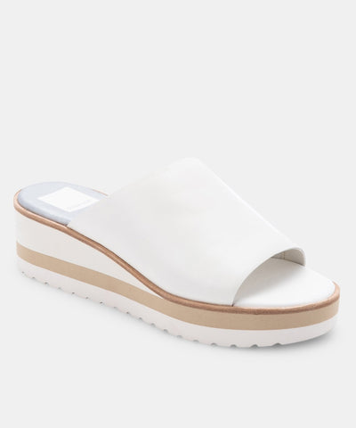 Dolce Vita Freta Wedge Sole Slide in White Leather