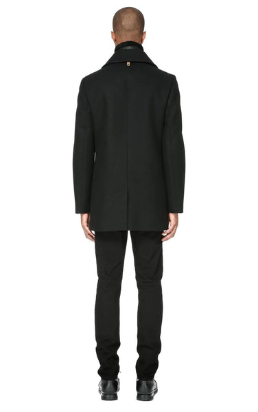 Mackage Dillon Flat Wool Coat w/ Sheepskin Collar - Black