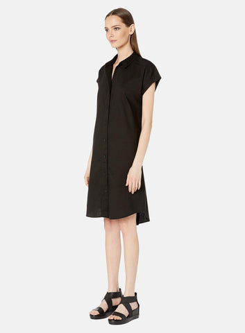 Eileen Fisher Soft Cotton Twill Button Front Dress - Black