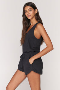 spiritual gangster perfect lounge romper in vintage black