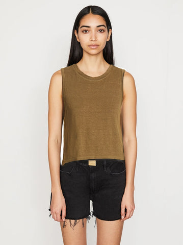 FRAME  Swingy Muscle Tank in Moss
