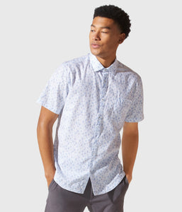 Good Man Brand WOVEN SS ON-POINT PRINT SHIRT - White Diamond Batik