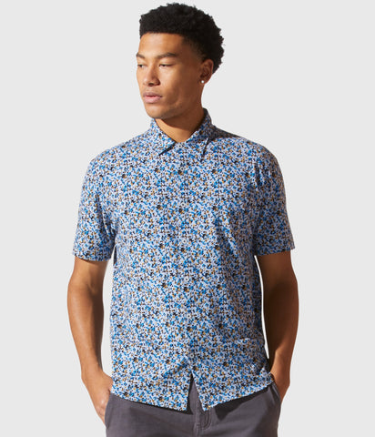 Good Man Brand Star Flex Heather Printed Soft Shirt - Blue Heather Wildflower Camo