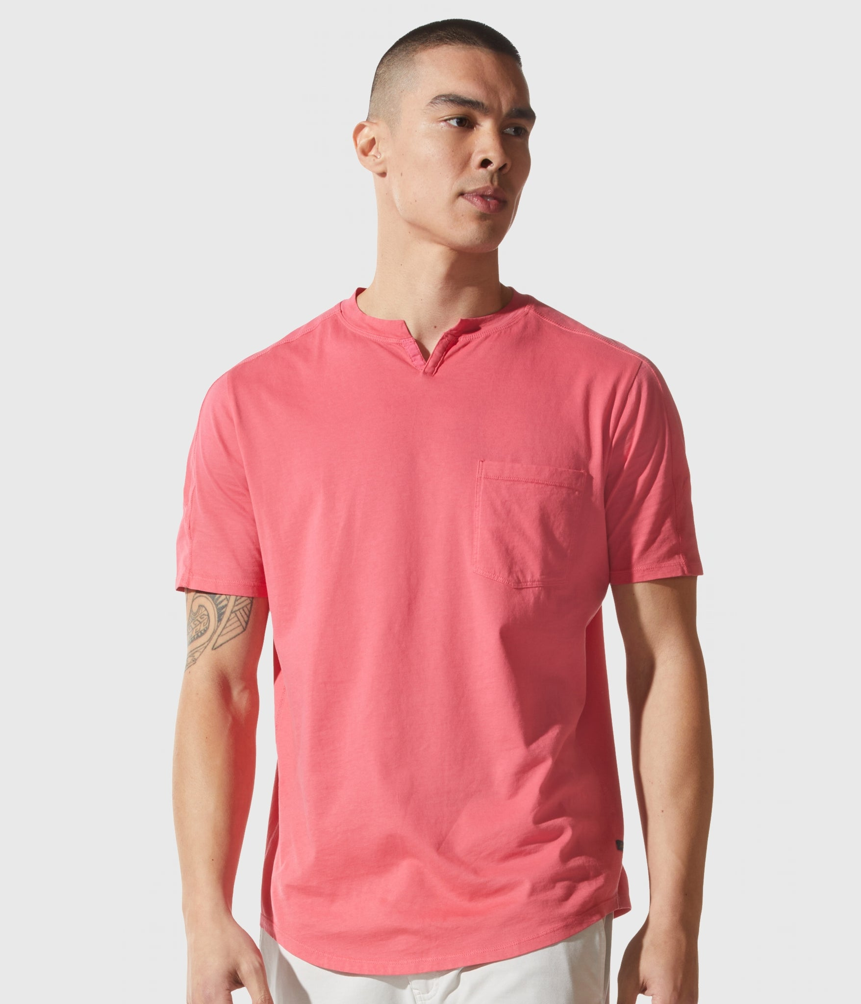 Good Man Brand SS Notch Neck Crew - Watermelon