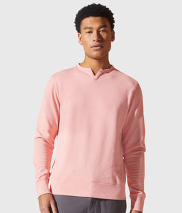 Good Man Brand White Marl French Terry Victory V-Notch Sweatshirt - Pink Icing
