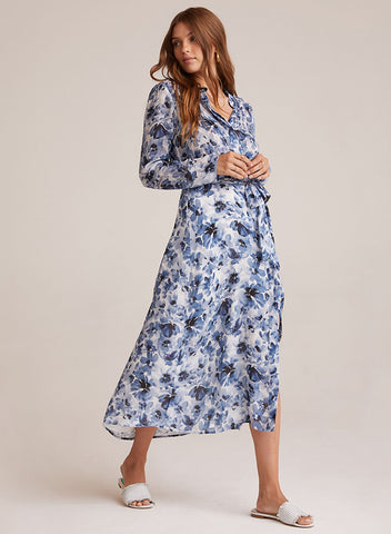 bella dahl indigo watercolor floral print maxi shirt dress