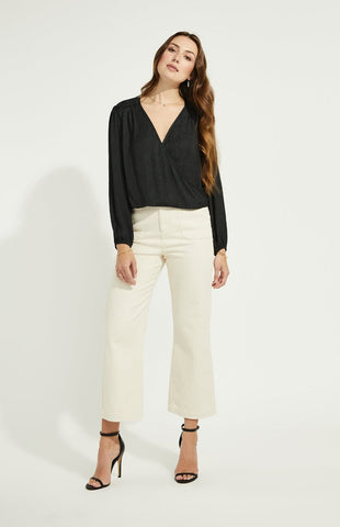 Gentle Fawn Aria wrap front long sleeve top in black