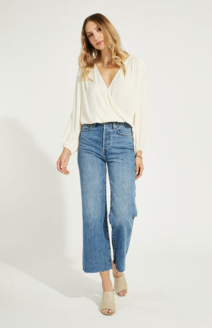 Gentle Fawn Aria wrap front long sleeve top in cream