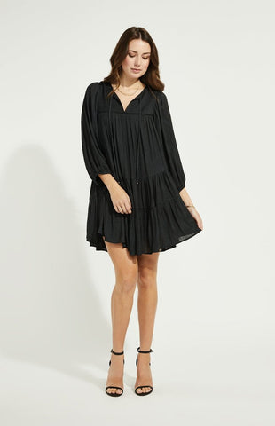 Gentle Fawn Cadence tonal jacquard long sleeve dress in black