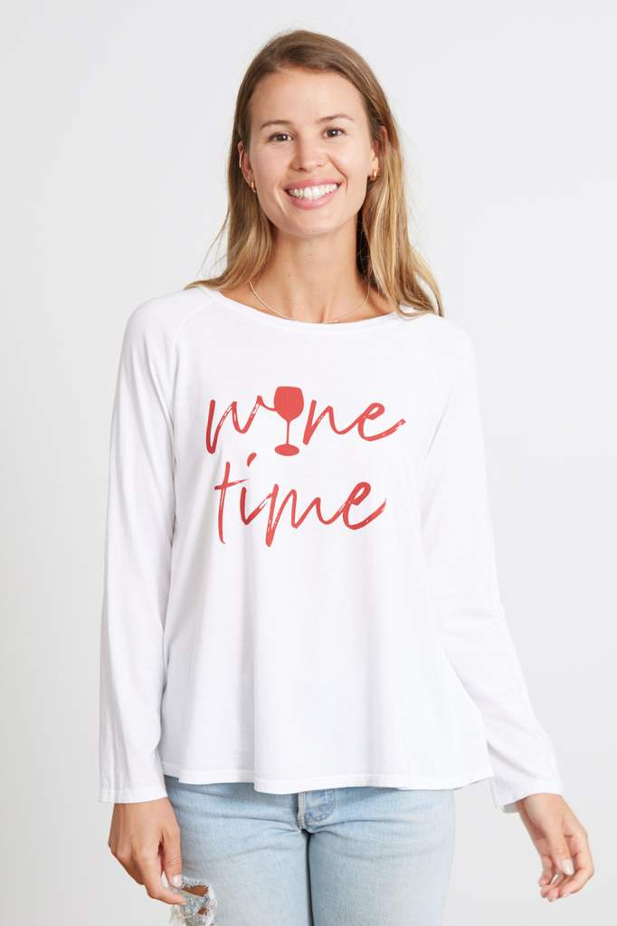 goodhyouman Maxie Wine Time L/S in Optic White
