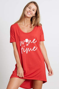 goodhYouman Margot Wine Time Sleep Shirt in Lychee