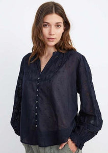Velvet Gala Cotton Embroidery Top in Vintage Black