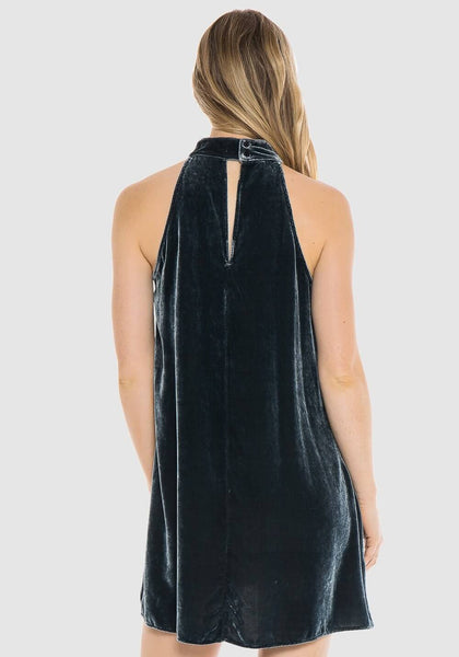 Bella Dahl Velvet Mock Neck Halter Dress 8F